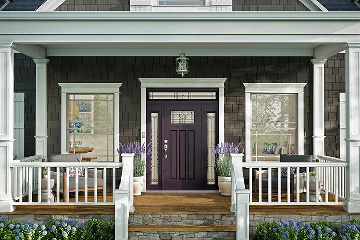 Dark purple front door with sidelites