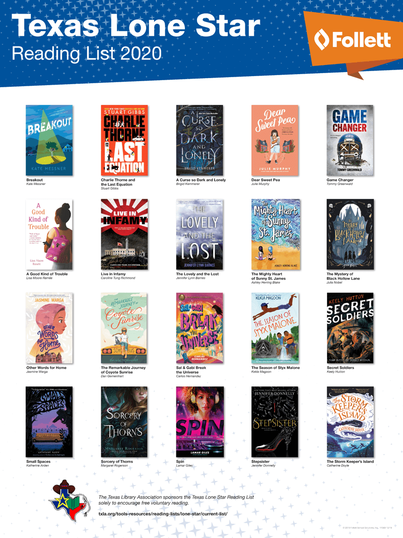 Texas Lone Star Reading List 2020 State Award Poster