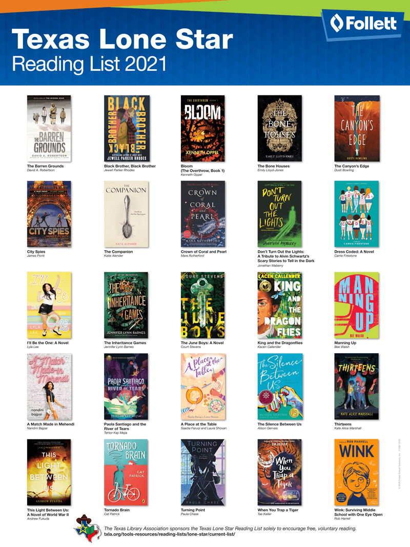 Texas Lone Star Reading List 2021 State Award Poster