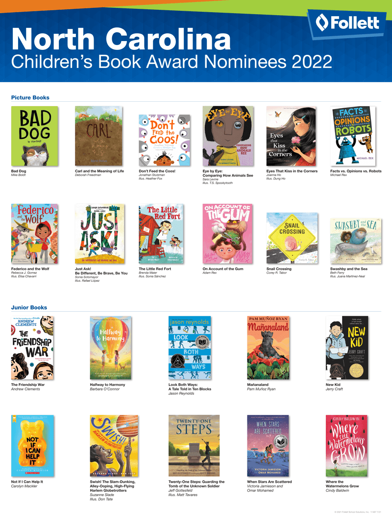 North Carolina Childrens Book Nominees 2022 State Award Poster