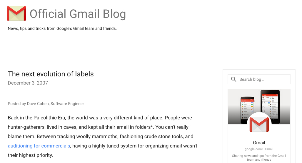 Gmail blog post