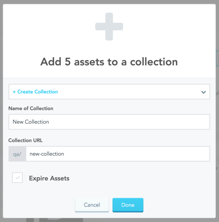modal to customize collection