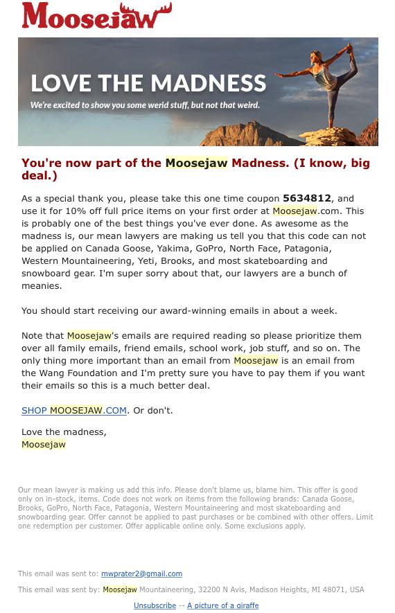 Moosejaw email