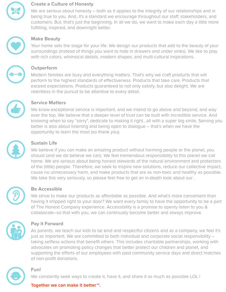 Honest company brand pillars chart