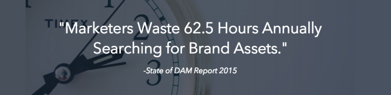 stat showing marketers waste 62.5 hours annually searchng for assets