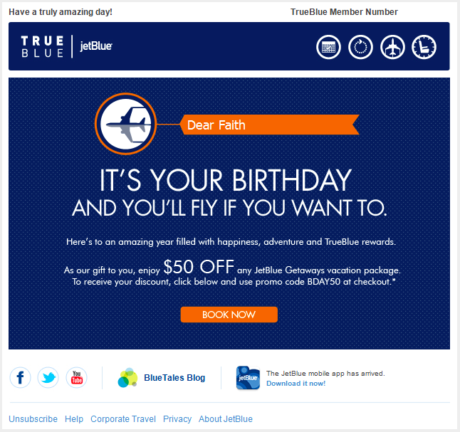 JetBlue coupon on birthday
