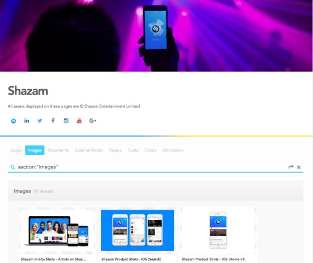 Shazam Brandfolder example