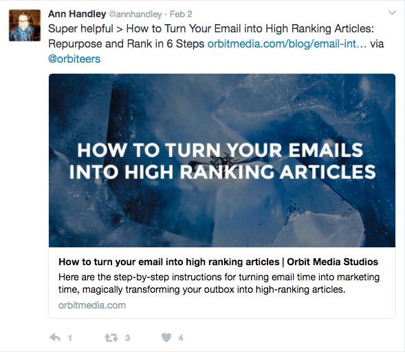 Ann Handley tweet