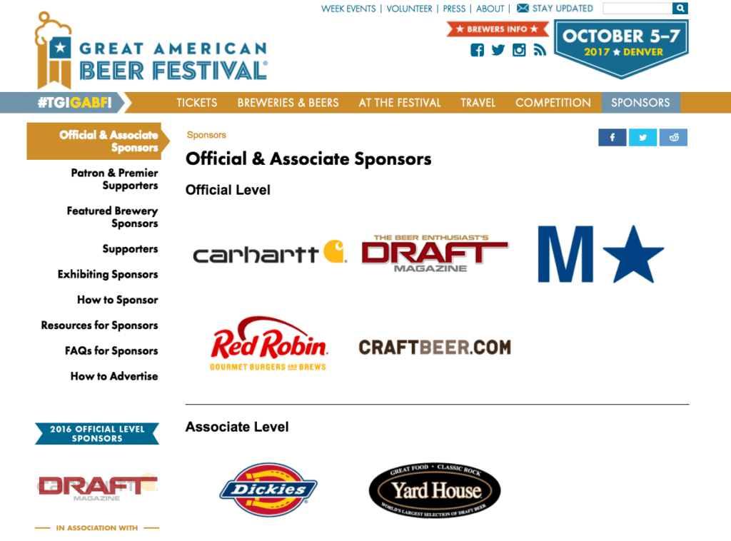 Great American Beer Fest sponsors