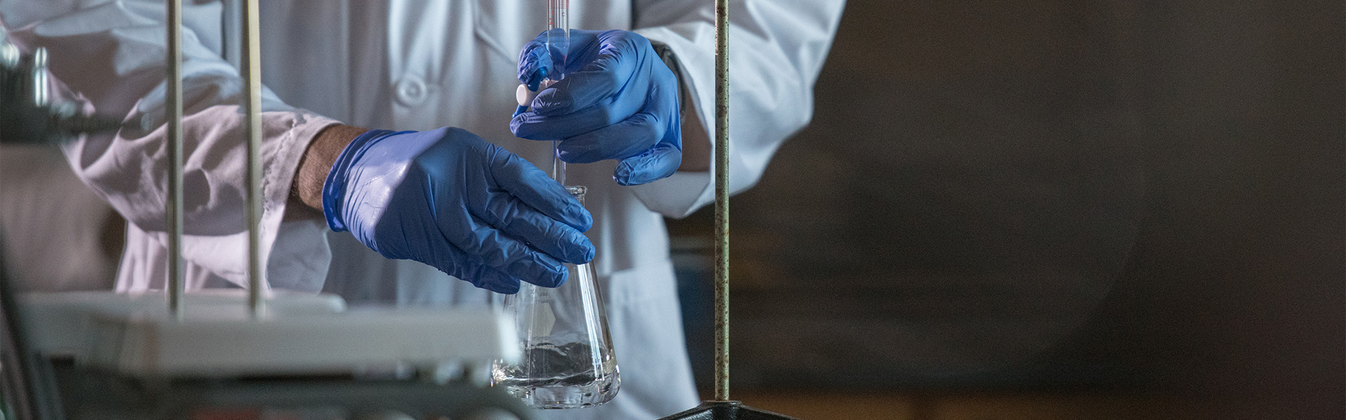 Working with chemicals in a lab