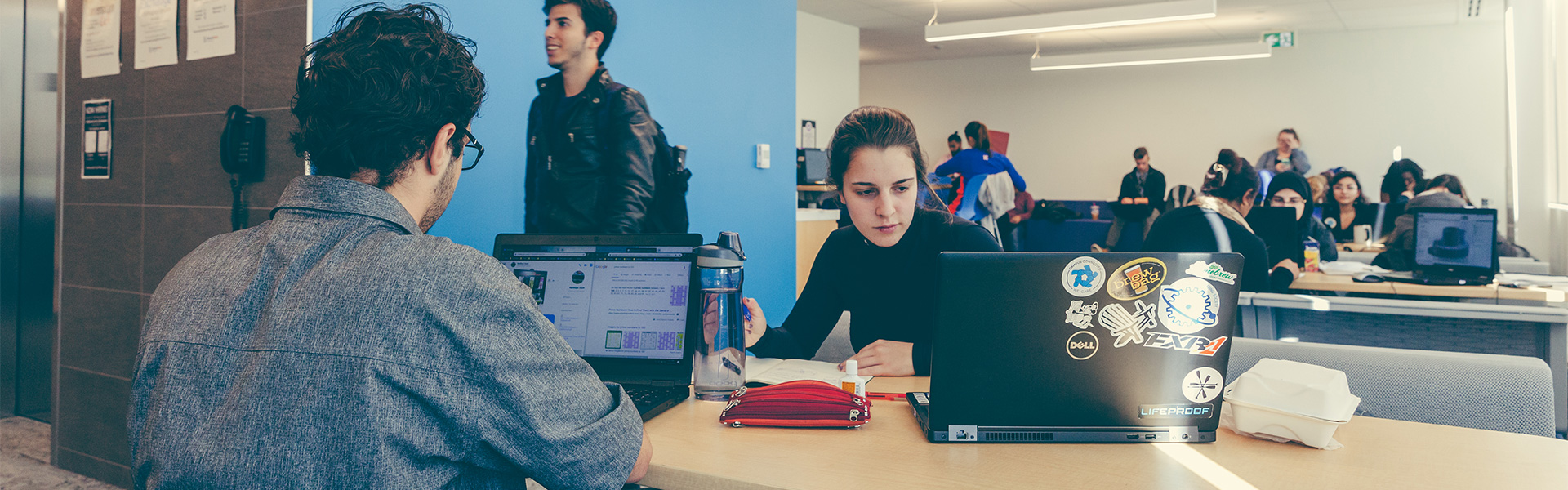 Students working in a study space