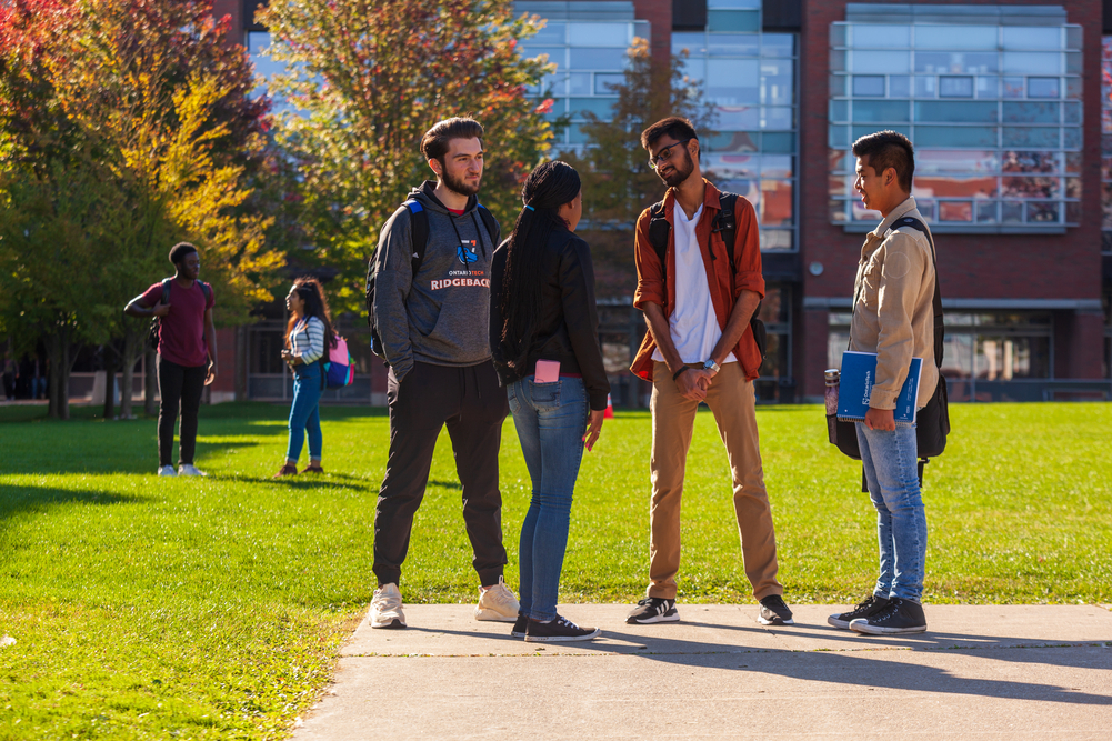 Students hanging out on campus