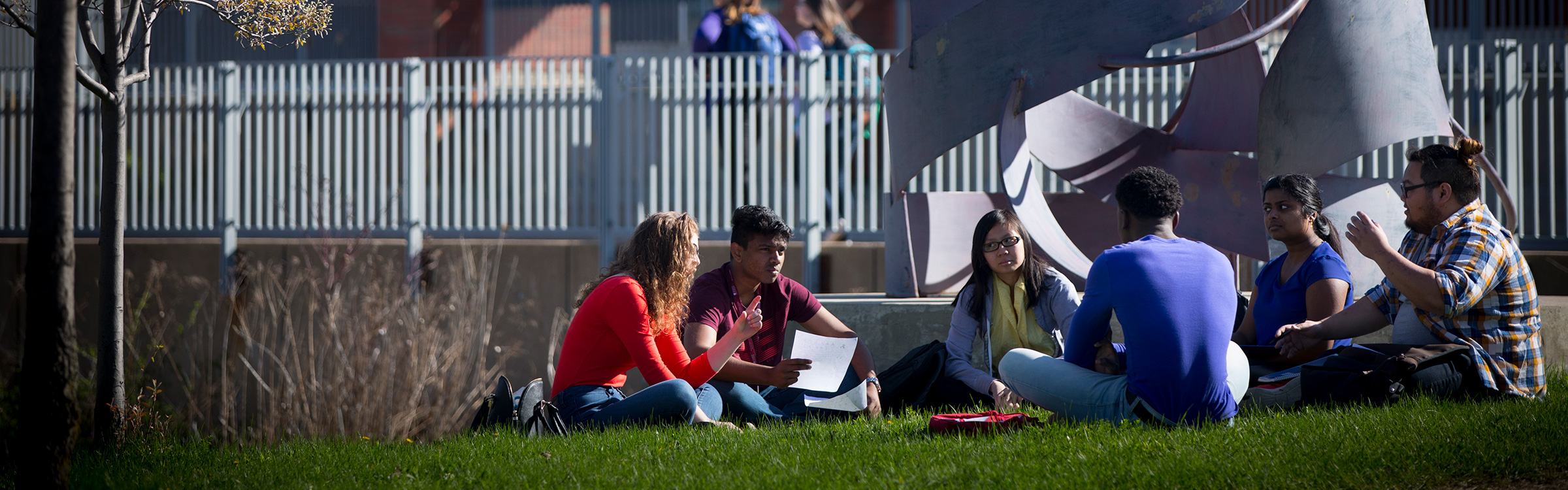 Students sitting outside on campus grounds