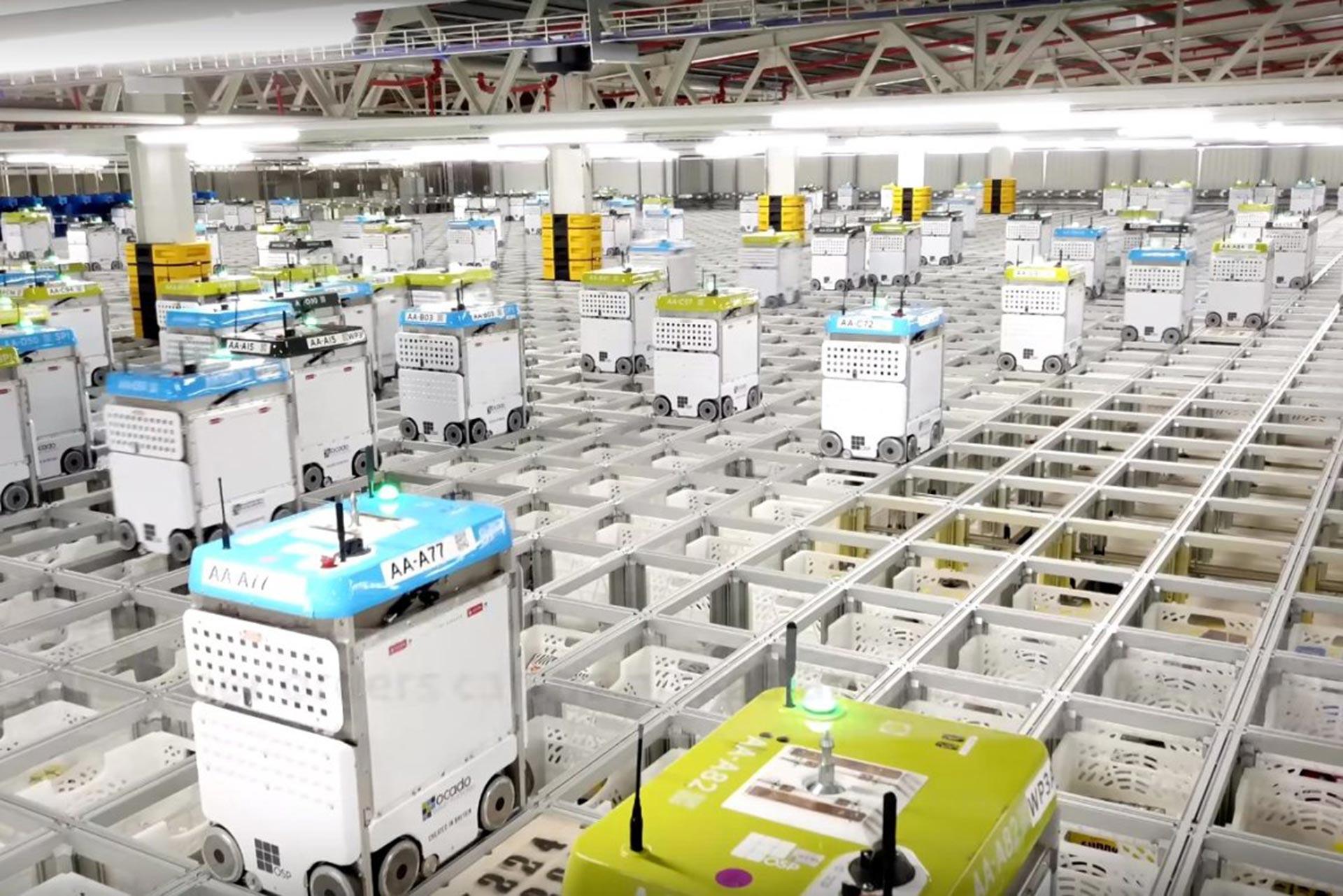 Image of Ocaado online grocery retailer warehouse