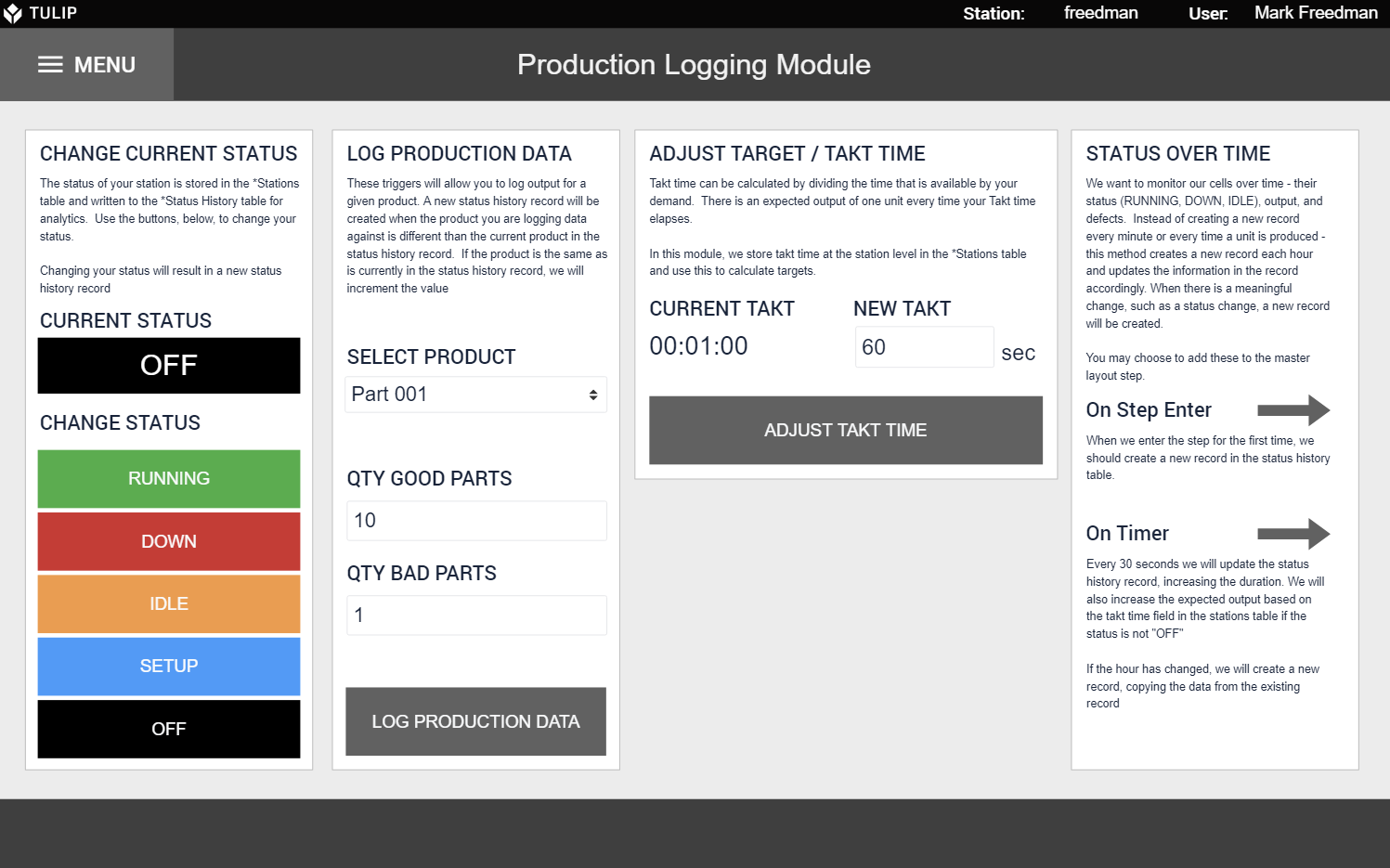 Image of Production Tracking Module app