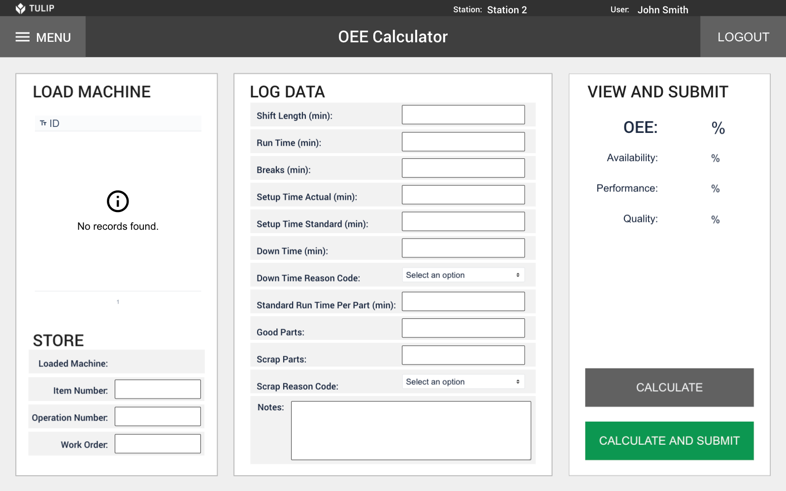 Image of Overall Equipment Effectiveness (OEE) Calculator app