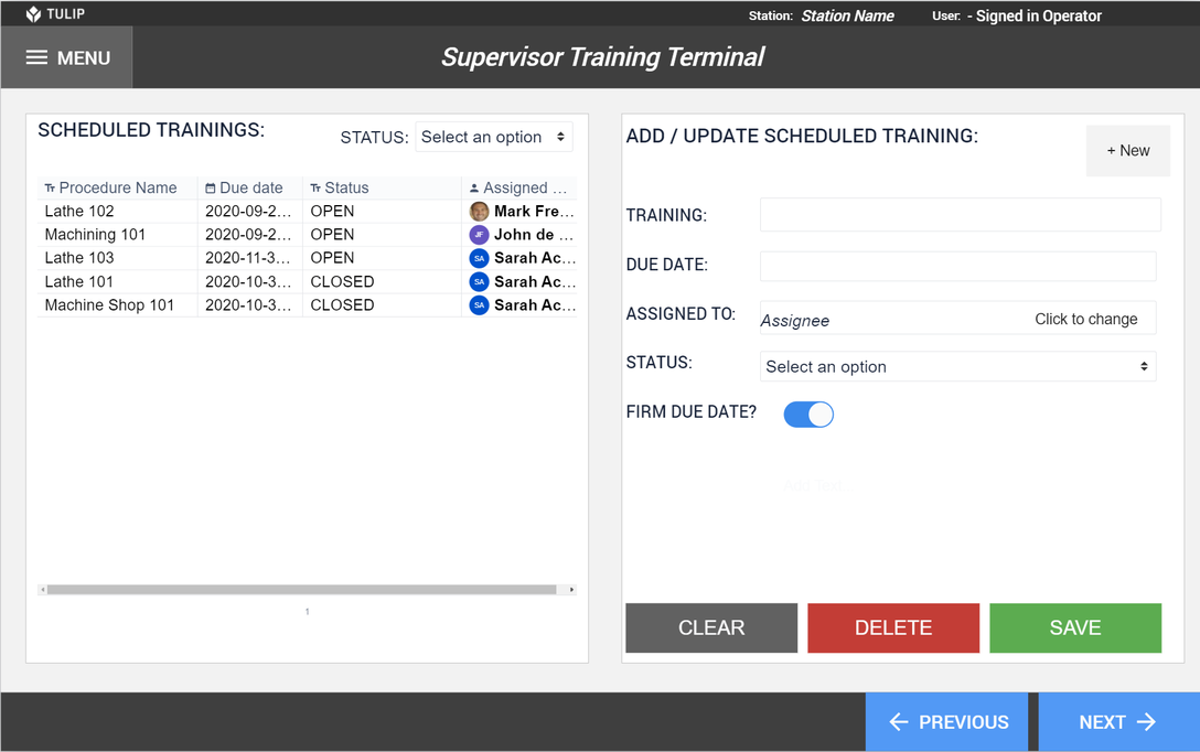 Image of Operator Training Manager app