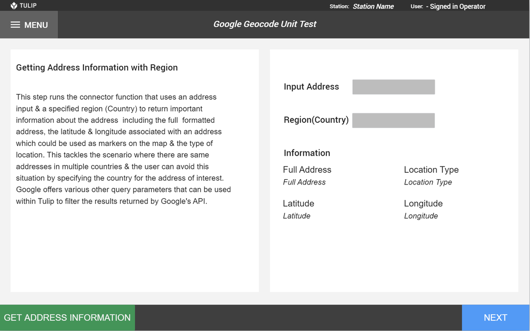 Image of Google Geolocation Unit Test app