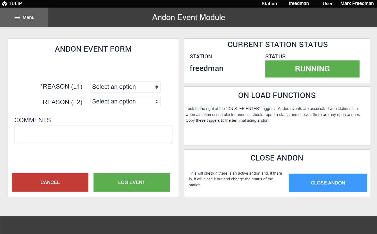 Image of Andon Event Module app