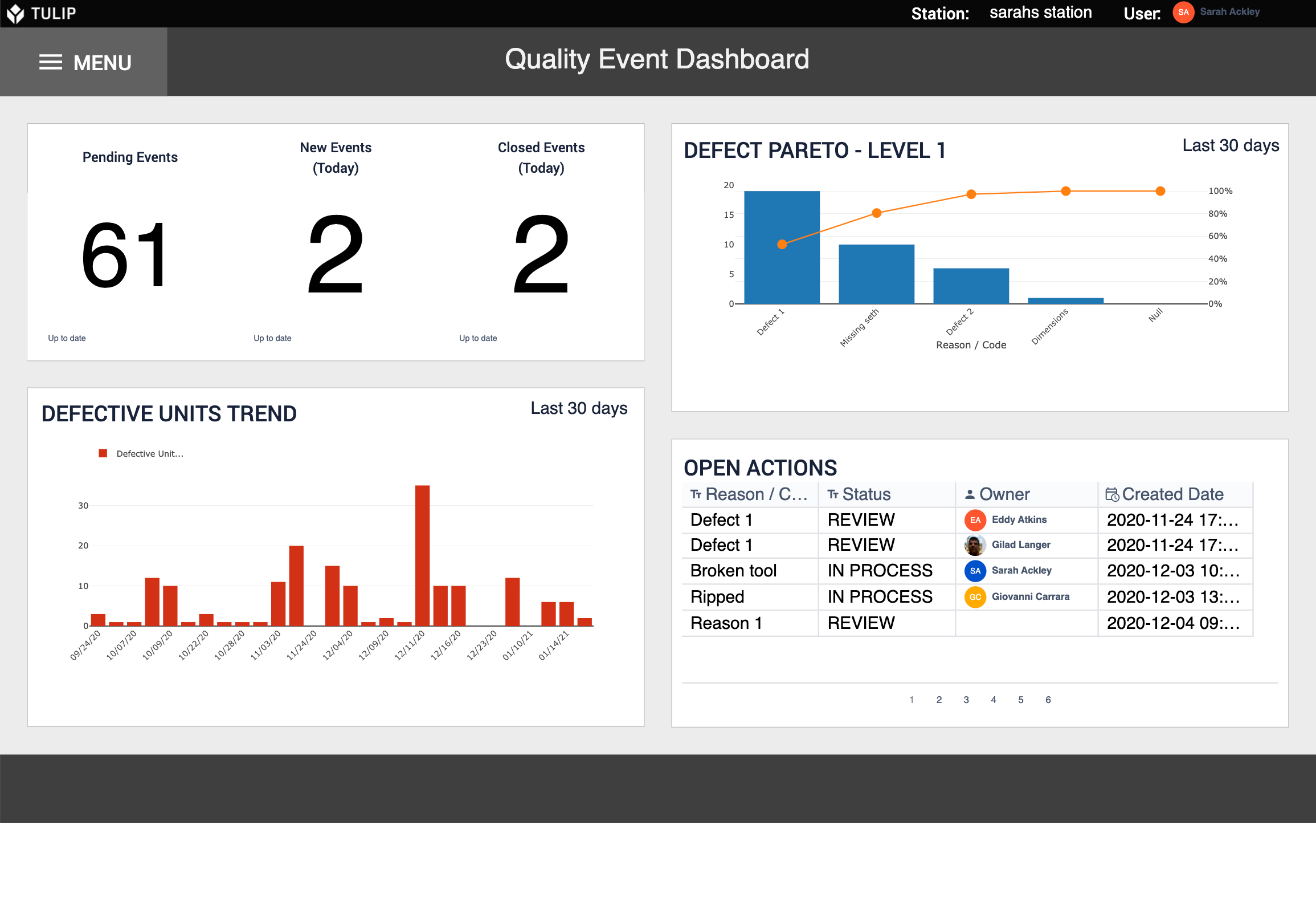 Image of Quality Event Dashboard app