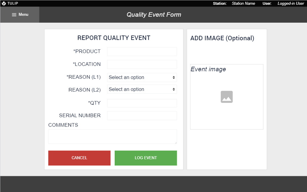 Image of Quality Event Form app
