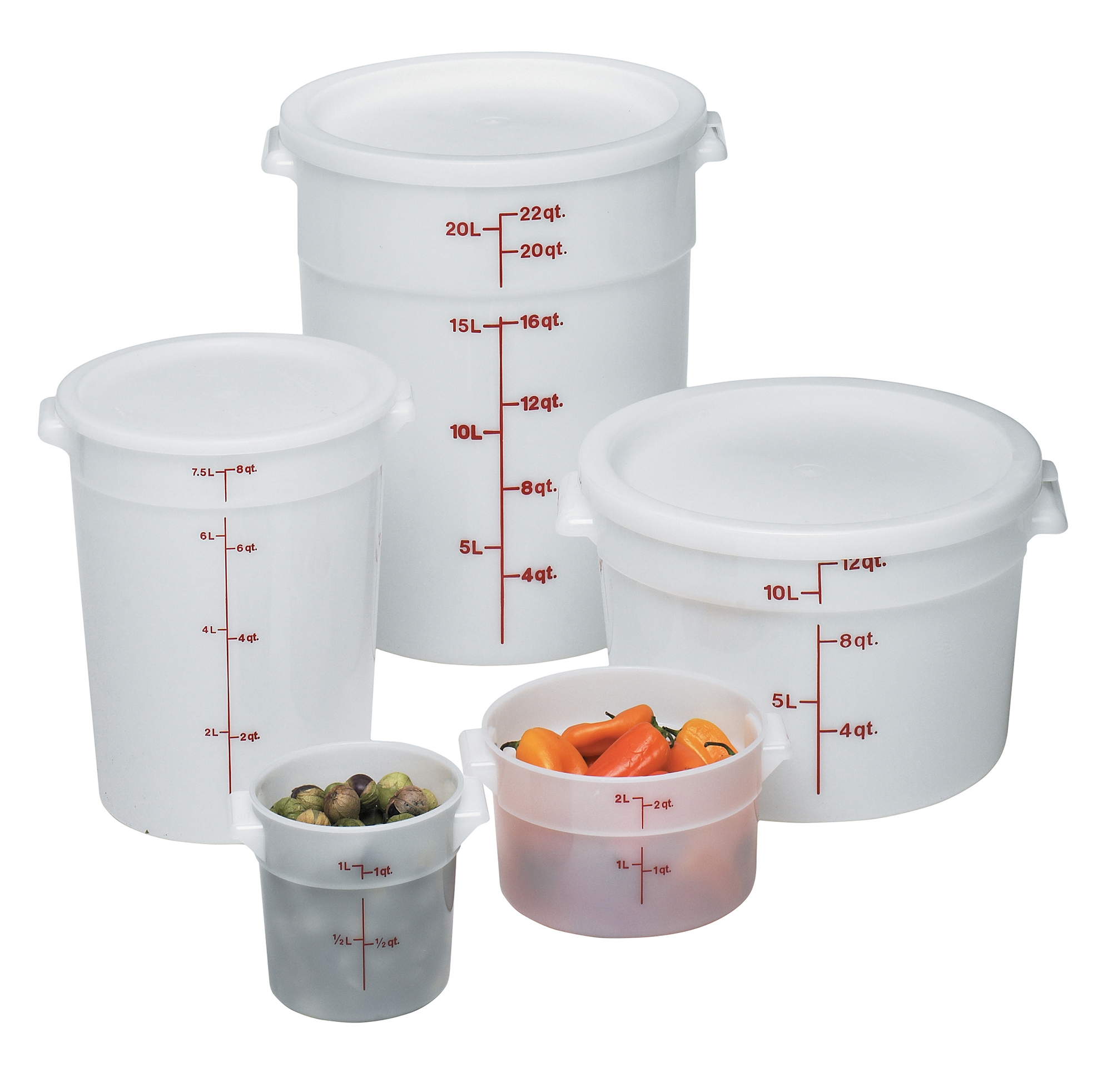 RFS1148 1 QT White Poly Round Container