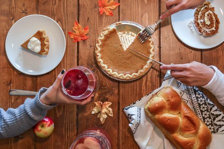 pumpkin pie on table, fall meal