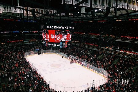 The United Center where the Chicago Blackhawks play.
