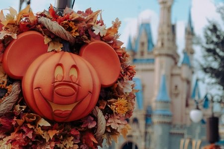mickey head pumpkin wreath
