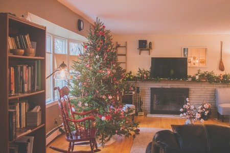 living room decorated with Christmas decor