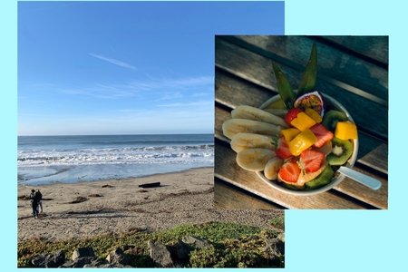 I made my own collage with two photos inside, one of a beach with waves taken by me, a chapter member, and another of a fruit bowl on a wood table taken by a photographer on Unsplash.