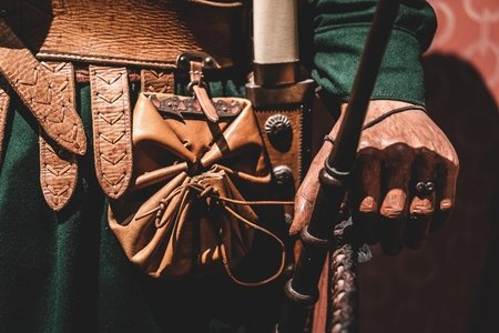 Close-up on a Medieval style clothing and a leather pouch