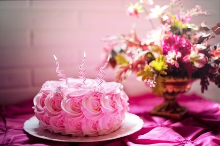 Birthday cake and flowers