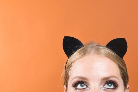 rep image, cat eyes, halloween, costume