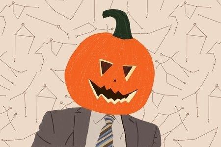 Drawing of Dwight Schurte with a pumpkin on his head in front of zodiac constellations