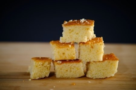 pyramid stack of corn bread squares on table