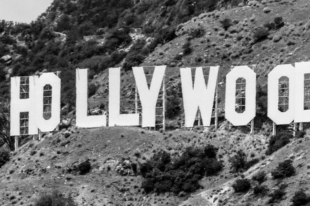 black and white Hollywood sign