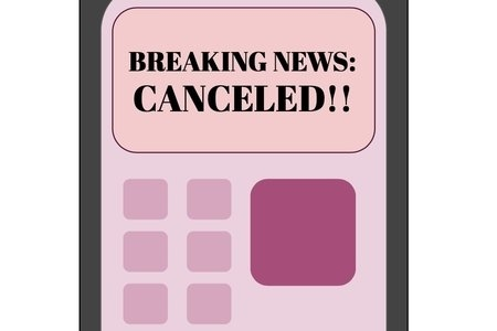 """Phone with alert banner stating :BREAKING NEWS: CANCELED"""" in bold font"""