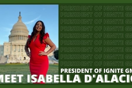 "photo of a woman on a green background that says ""president of Ignite GMU"""