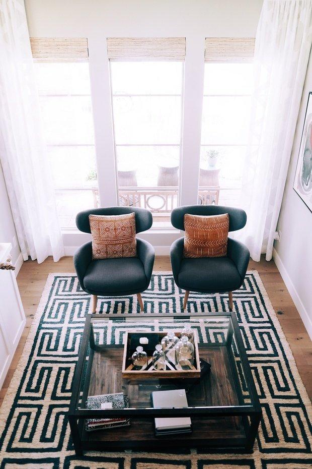 black and white themed living room rug