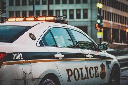 police car in the street