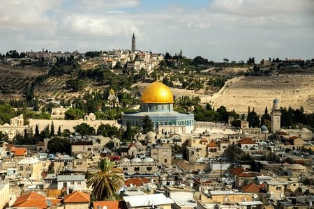 City of Jerusalem with the Dome of the Rock as a focus point
