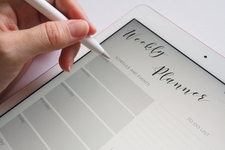 weekly planner on a tablet