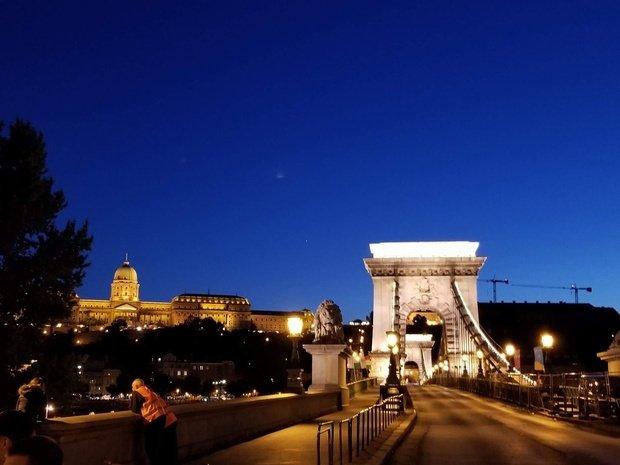 Chain Bridge, illuminated at night, Budapest, Hungary