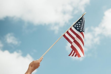 american flag and sky