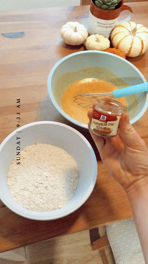 Pumpkin spice next to pancake batter