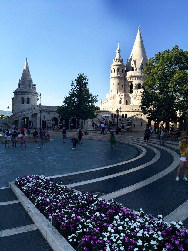 Buda Castle, busy with tourists, Budapest Hungary