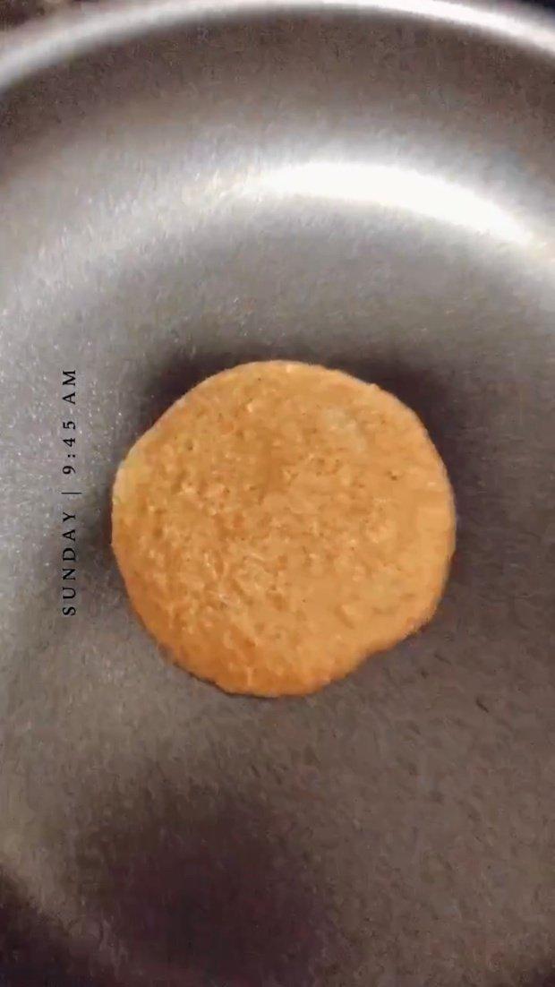 Pancake cooking on a pan