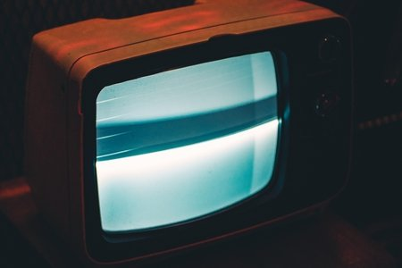 small tv with a blue screen