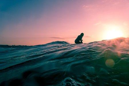 sunset surf girl